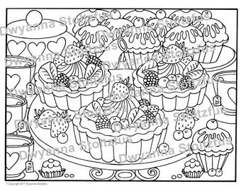 Fruit Tarts Coloring Page JPG
