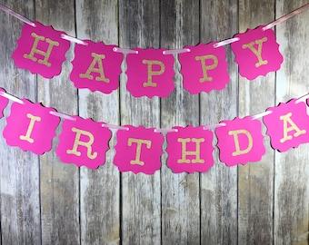 Happy Birthday Banner, Happy Birthday Pink Gold Banner, Birthday Banner, Birthday Decoration, Happy Birthday Girl, Birthday Girl Decoration