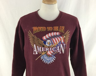 Vintage 90s Proud To Be An American Bald Eagle Burgundy Crew Neck Check Measurements
