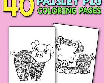 I Just Really Like Pigs Ok Coloring Book: Pig Coloring Book for Adults Kids and Seniors with Paisley Henna Mandala Designs to Relieve Stress