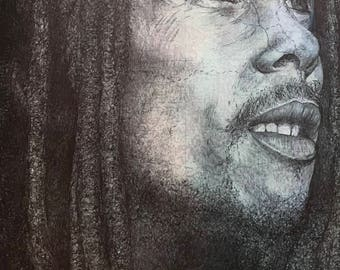 Bob Marley print. Pen drawing over map of Jamaica. A4 Unframed.