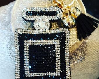Sequin Perfume Bottle with Black Tassel Keychain