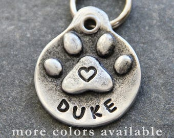 Hand Stamped Dog ID Tag - Dog Tags for Dogs - Unique Dog Tags for Small Dogs and Large Dogs Puppy Name Tag Dog Collar Tag