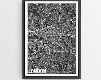 London City Map Print - Various Colours / England / City Print / UK Maps / Father's Day / Giclee Print / Poster