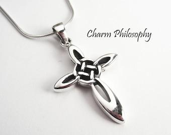 Celtic Cross Necklace - 925 Sterling Silver - Celtic Knot Pendant