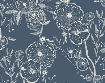 11.00 a Yard Premium Cotton - Millie Fleur - Line Drawing Bluing