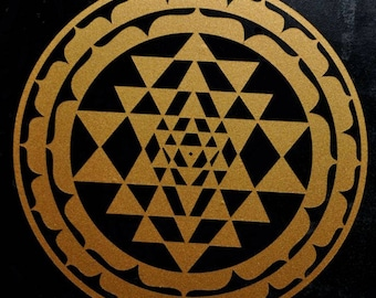 Sri Yantra sacred geometry copper vinyl decal