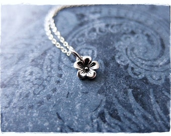 Tiny Cherry Blossom Necklace - Sterling Silver Cherry Blossom Charm on a Delicate Sterling Silver Cable Chain or Charm Only