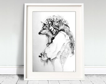 Watercolor Print. Wall art portrait of beautiful girl and deer. Digital print.