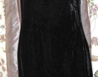 60s Black Velvet and Faux Fur Holly Golightly Mod Cocktail Dress Vintage