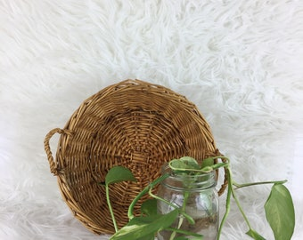 "Vintage Wicker 9"" Basket with Handles 1980's Boho Decor"