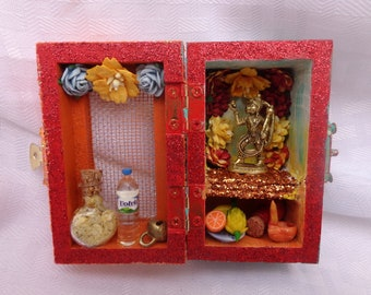 Hanuman Box Shrine. Miniature Nicho.  Travel Altar. Shadow Box.