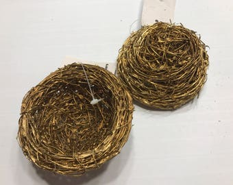 2 gold painted small bird nests, 3 1/2 inch (HR101)