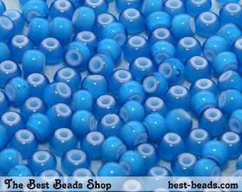 25g (300pcs) White Lined Blue Rocaille 5/0 (4.5mm) Preciosa Czech Glass Seed Beads