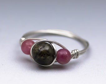 Petrol & Pink Tourmaline Gemstone Sterling Silver Wire Wrapped Bead Ring - Made to Order, Ships Fast!