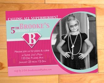 Supergirl Birthday Invitation, Superhero Birthday Party Invitation, Girl, Pink, Custom Photo Card