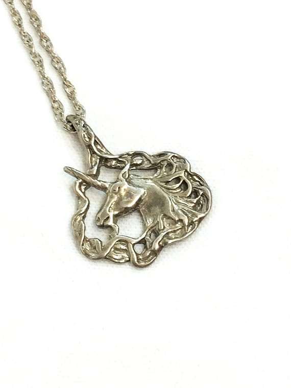 Sterling Silver Unicorn Pendant Necklace, Art Nouveau Horse Jewelry, Double Chain Hook Closure, Mythical Figural Antique Vintage Jewelry