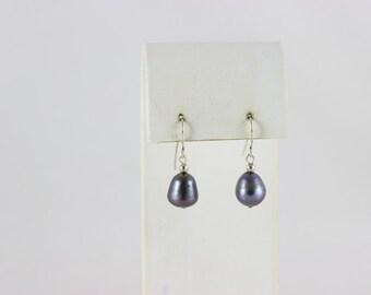 Sterling Silver Grey Pearl Dangle Drop Earrings
