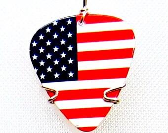 American Flag Guitar Pick - Guitar Pick Jewelry