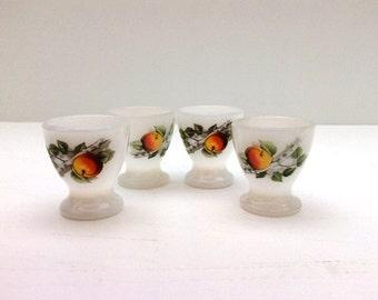 4 Retro Arcopal egg cups fruit decor