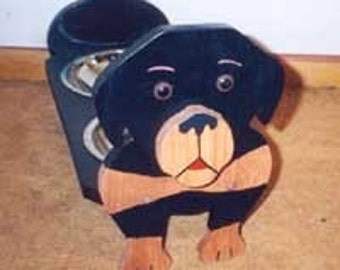Rottweiler elevated dog feeder hand crafted and hand painted