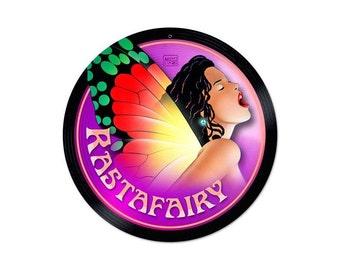 "Rasta Fairy Marijuana Metal Sign 14"" Round"
