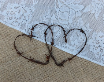 Entwined Barbed Wire Hearts, Wedding Hearts, Rustic Home Decor, Heart, Barbed Wire, Barb Wire, Reclaimed Barbed Wire, Wedding Decor, Gift