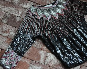 Saks Fifth Avenue Long Sleeve Sequin Top