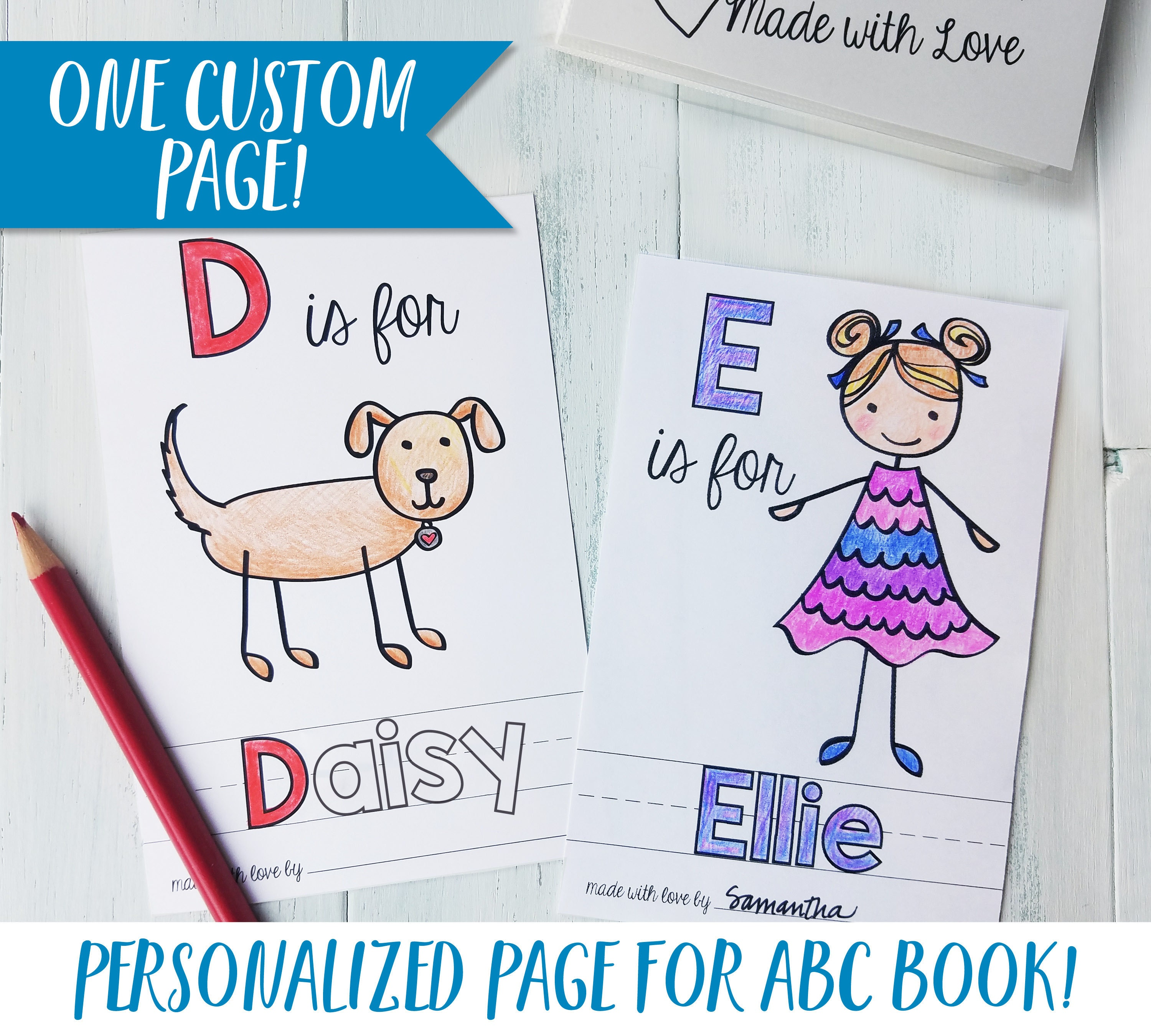Personalized ABC Book Coloring Sheet Baby Shower Activity
