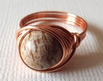 Mens Copper Ring, Picture Jasper Ring, Copper Wire Ring, Wire Wrapped Ring, Ring for Boyfriend, Brown Stone Ring, Unique Stone Ring, Earthy