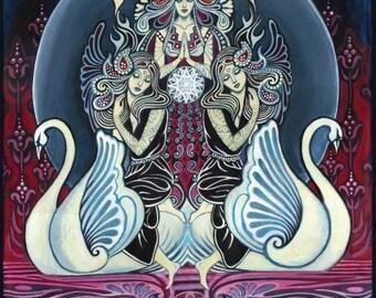 Cygnus Goddess of Swans 11x14 Fine Art Print Pagan Mythology Art Nouveau Goddess Art
