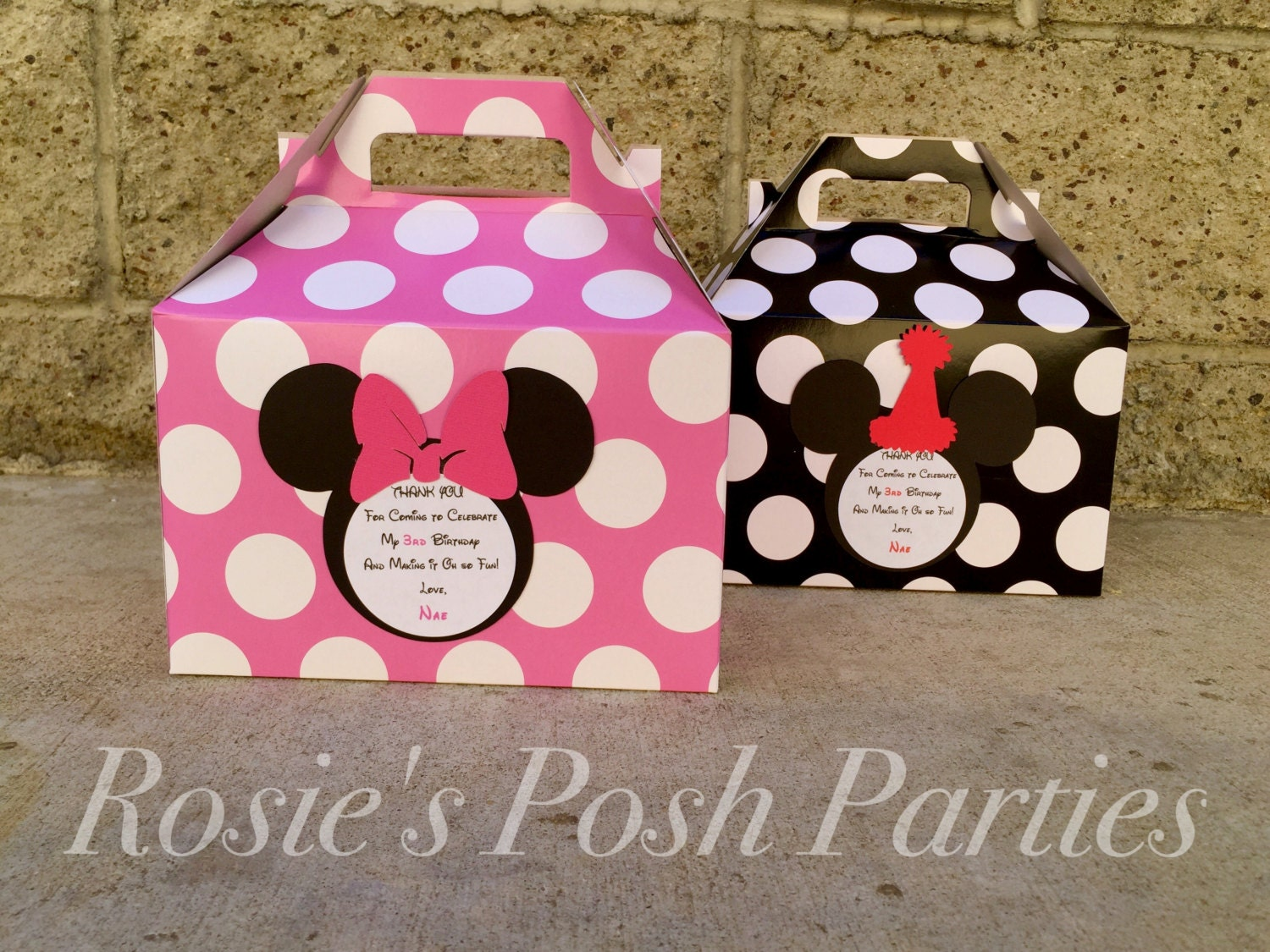 Hot pink Minnie Mouse Favor box and Mickey Mouse Birthday
