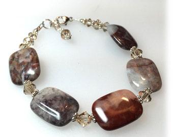 Handmade Flower Jasper bracelet, Golden Shadow Swarovski Crystals, Brown and Tan Jewelry