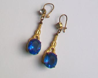 Sapphire Blue Glass Claw-Set Stones in Gold Tone Dropper Earrings