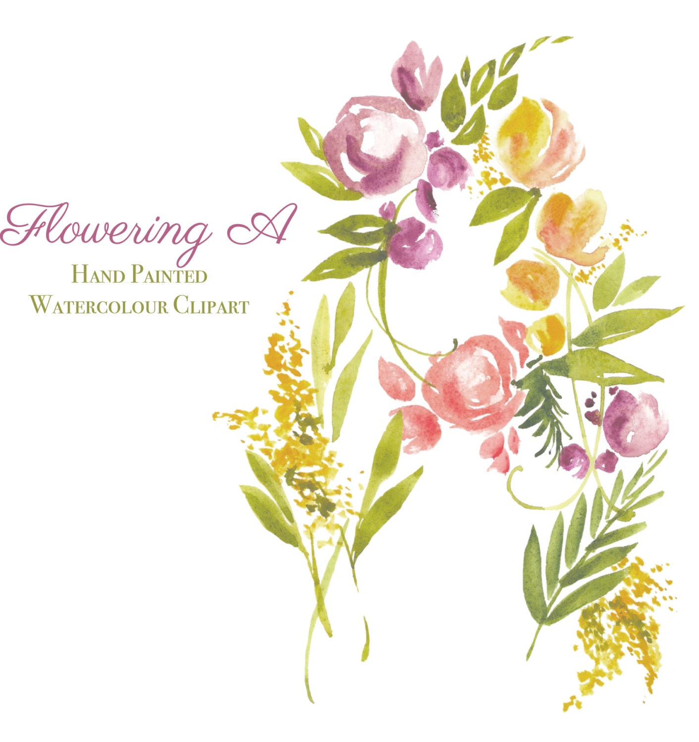 Watercolour alphabet Clip Art - Flowering A - Elements, Floral ...