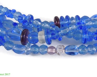 Czech Trade Beads Blue Translucent Faceted Africa 118082