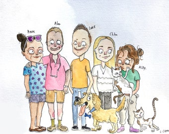 Personalised Family Cartoon, Custom Caricature Portrait - FREE UK Shipping