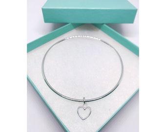 Sterling silver 925 open heart bangle