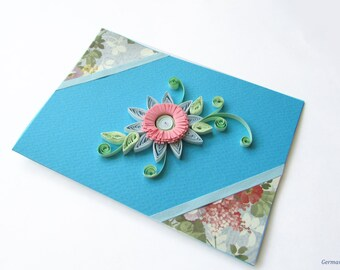 Blue Flower Card, Blank Birthday Card, Paper Quilling Flower Greeting Card, Romantic card
