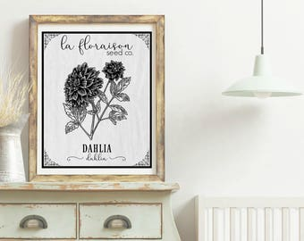 French Cottage Style Seed Packet Printable - Dahlia