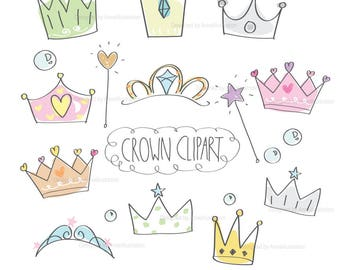 Crwon clipart,Hand drawn crwon clipart,Tiara clipart,Prince,Princess,Magic wand clipart,Vector,Instant download Illustration_CA13