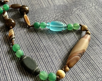 Old glass beads light blue with light brown canelian necklace