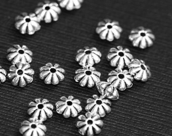 50 pcs of antique Silver flower rondelle spacer 6mm