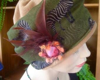 womens hat winter soft hat chemo headcover olive green camel fleece zebra print