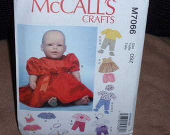 McCall's 7066  Craft  Doll Clothes, Dress, Jacket, Skirt, Top, Shorts and Pants,  Dolls Size 11-16 Uncut New