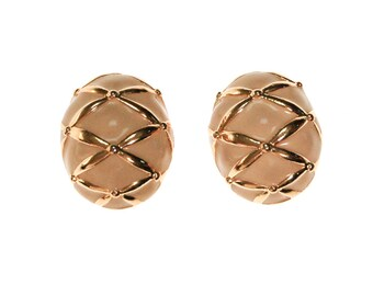 Vintage Joan Rivers Cream and Gold Earrings, Oval, Domed, Designer Vintage Jewelry