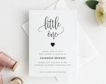 Printable Baby Shower Invitation | Baby Sprinkle | Baby Shower | Little One | Script | PDF | Download | Savannah suite #066-24