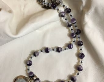 Moonstone and amethyst necklace.