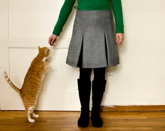 Grey Wool Skirt with Inverted Pleats, Winter Knee Length Skirt