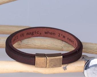 Mens Personalized Leather Bracelet - Custom Coordinates Latitude Longitude GPS Bracelet - Boyfriend Gift - Husband Gift - Genuine Leather -